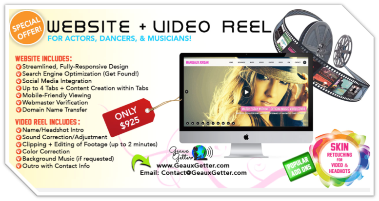 Website + Video Reel Special Offer by Geaux Getter